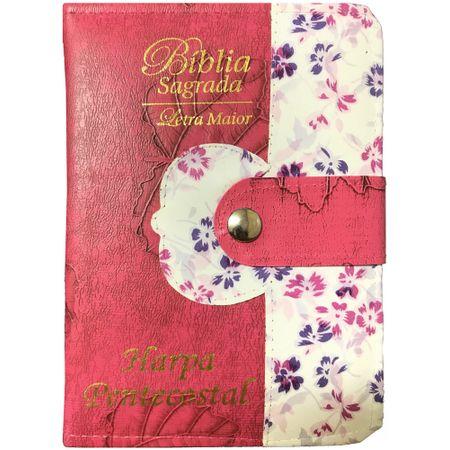 Biblia-e-Harpa-Letra-Maior-Botao-com-Caneta-Pink-e-Floral