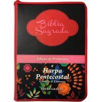 Biblia-e-Harpa-Pentecostal-Letra-Grande-Vinho-e-Preta-com-Flores