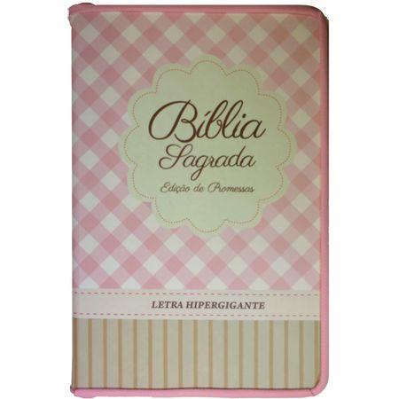 Biblia-Edicao-de-Promessas-Letra-HiperGigante-Linha-Gold-Rosa-Xadrez