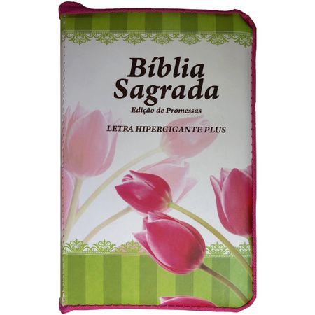 Biblia-Edicao-de-Promessas-Letra-Hipergigante-Plus-Linha-Gold-Pink-Tulipa