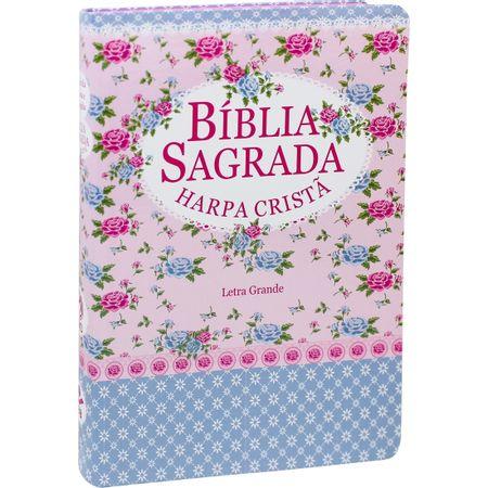 Biblia-RC-Letra-Grande-com-Harpa-Semi-Flexivel-Florida-Azul-