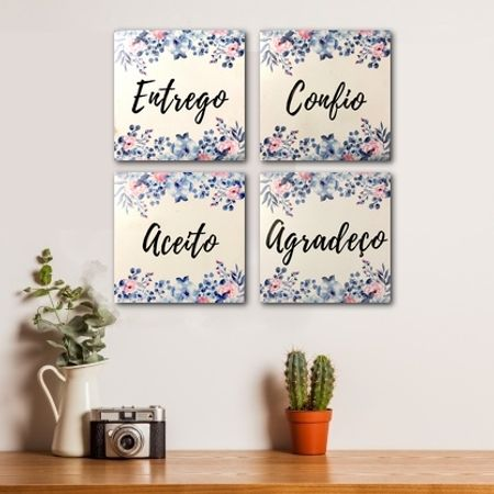 Kit-Quadro-MDF-13cmx13cm-Entrego-Confio-Aceito-Agradeco---Floral-Azul