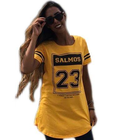 Camiseta-Long-Fit-Salmos-Amarela