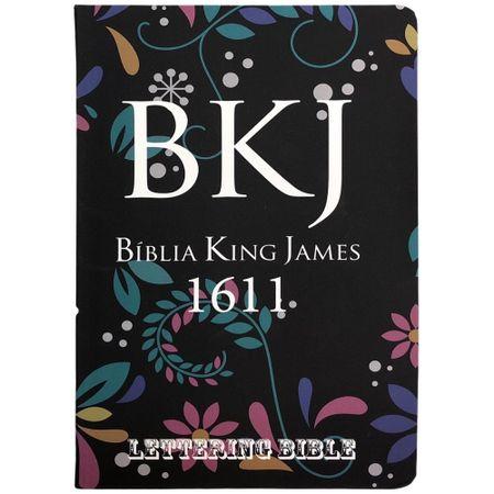 Biblia-King-James-1611-Floral-Preta---Lettering-Bible