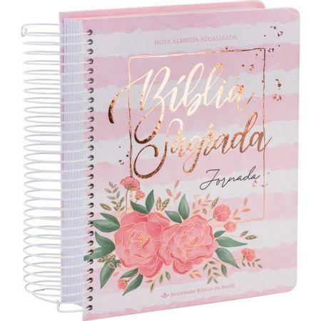 Biblia jornada aquarela rosa